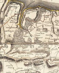 Detail of Isle of Wight Estates area from: Map of Hampshire surveyed by Thomas Milne, published by William Faden, 1791